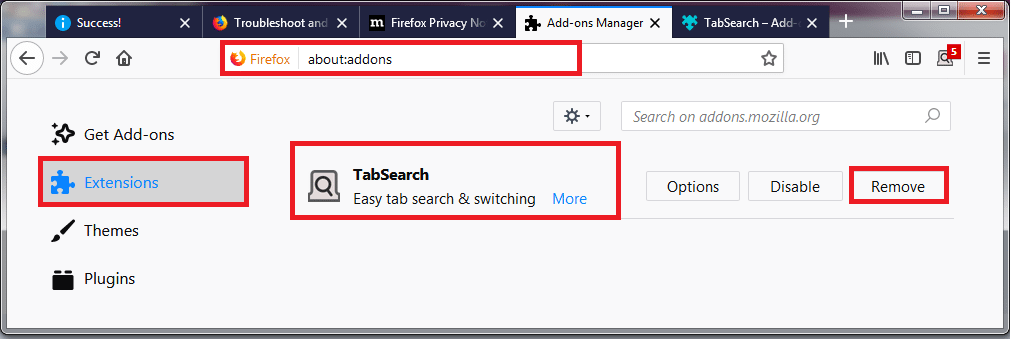 Remove Addons From Firefox 1