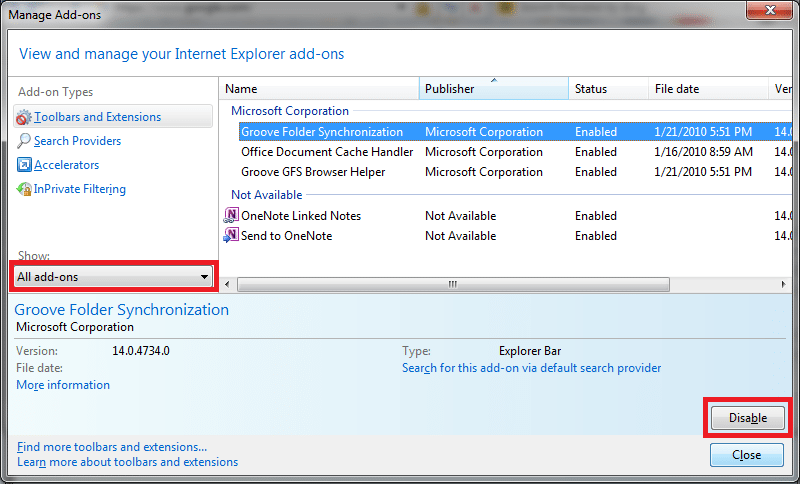 Remove add-ons From IE 2