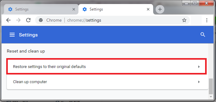 Reset Browser Chrome 3