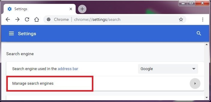 Reset Chrome Browser Search Engine 7