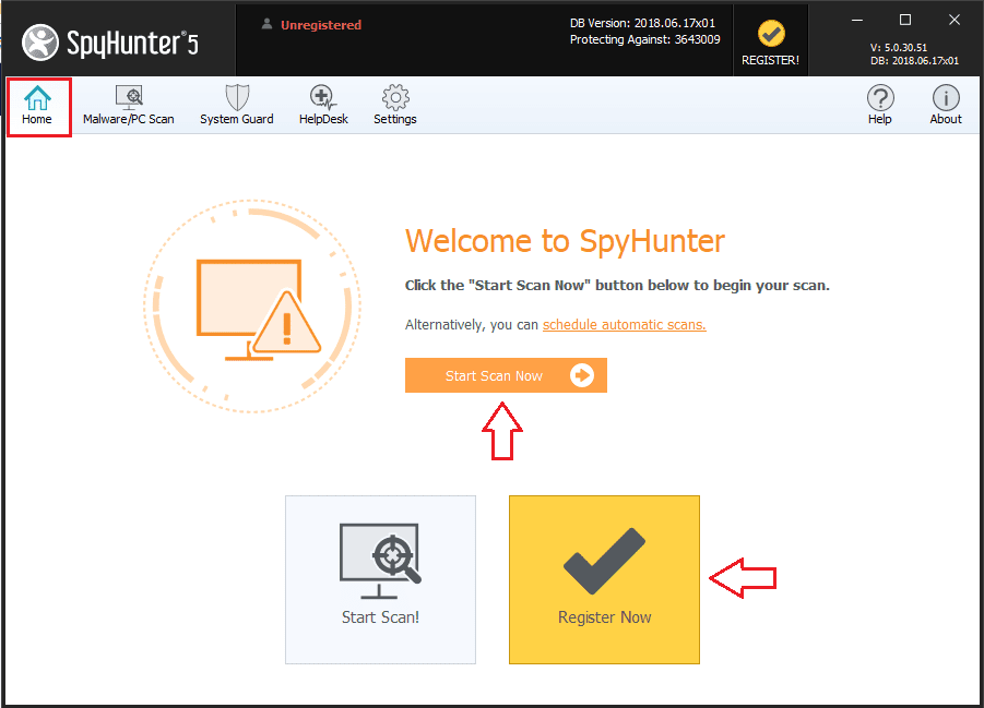 SpyHunter 5 Start Scan Now