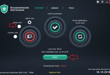Ransomware Defender scan