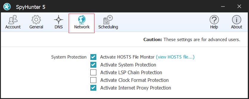 SpyHunter-5 Network Settings