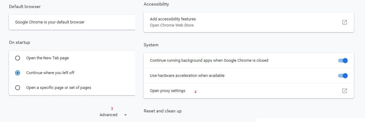 chrome advanced settings to open proxy settings