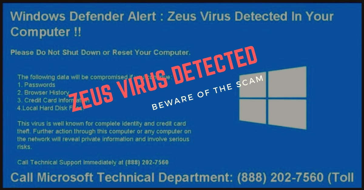 Remove zeus virus detected scam
