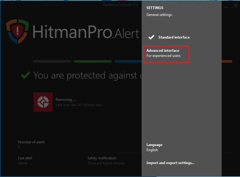 HitmanPro.Alert Interface
