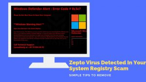 Remove Zepto Virus Detected In Your System Registry Pop-up