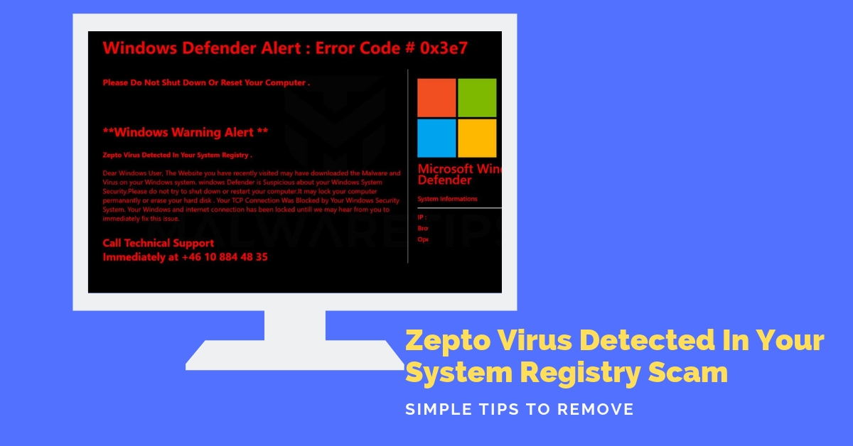 "Remove ""Zepto Virus Detected In Your System Registry"" Pop-up"