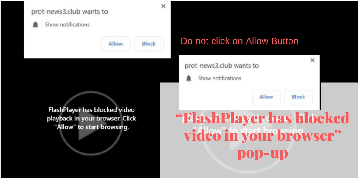 """FlashPlayer has blocked video in your browser"" pop-up scam"