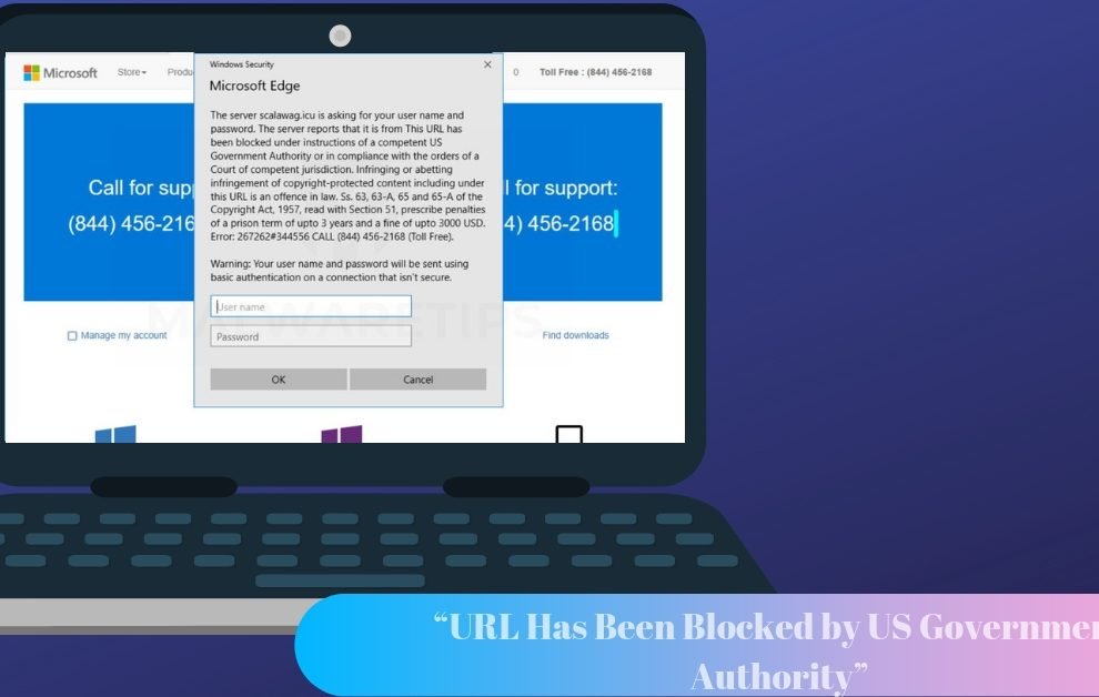 "Remove ""URL Has Been Blocked by US Government Authority"" Scam Pop-up"