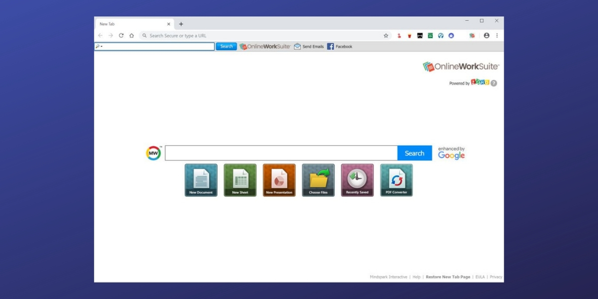 OnlineWorkSuite New Tab