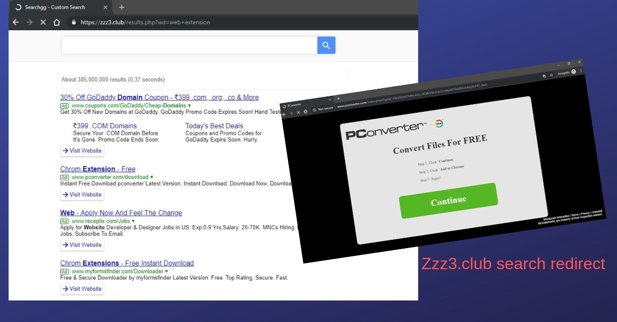 Remove Zzz3 club hijacker by QxSearch - Cyber security