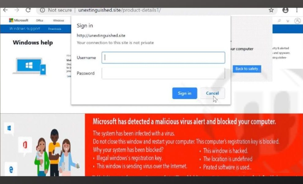 """Microsoft has detected a malicious virus alert and blocked your computer"""