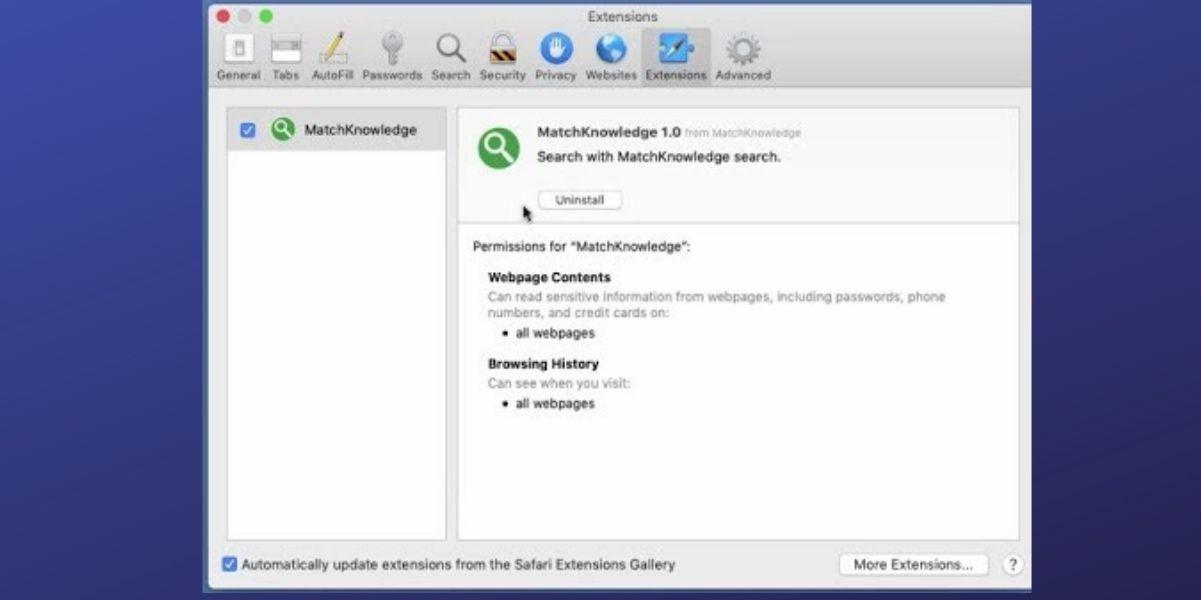 MatchKnowledge Extension On Safari and Chrome