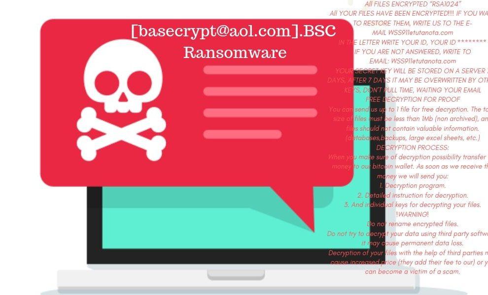 Remove [basecrypt@aol.com].BSC Ransomware