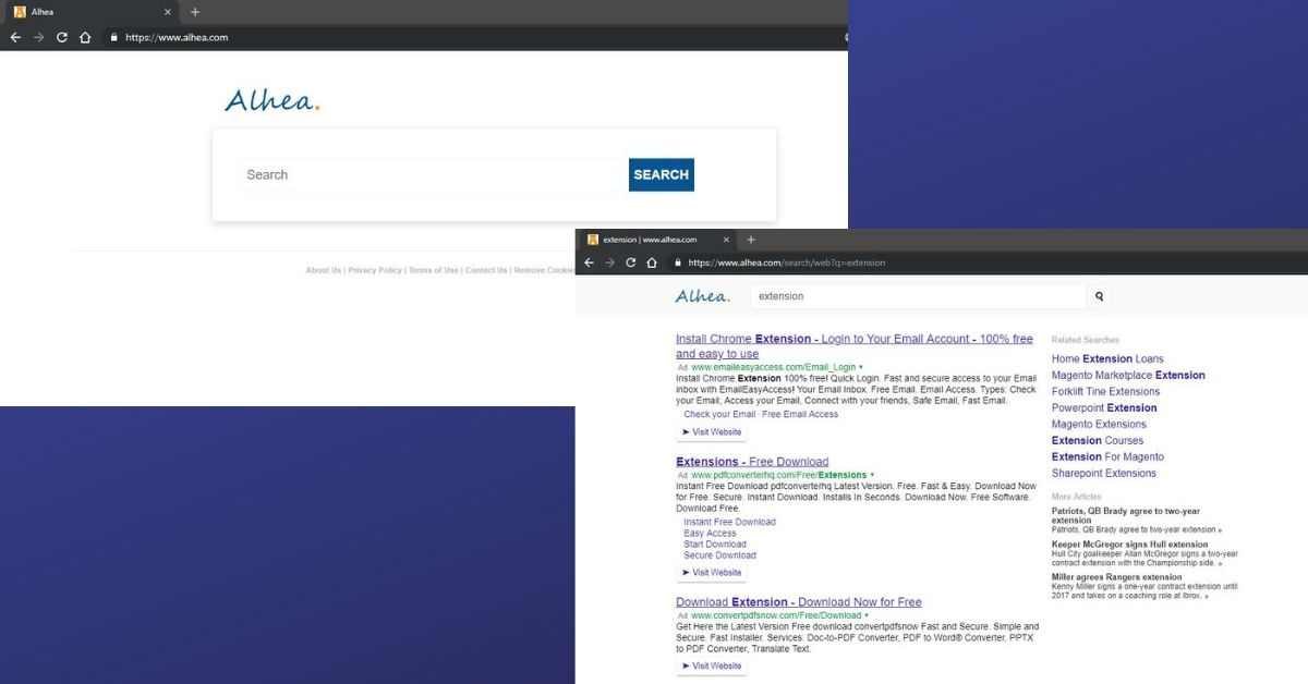 Alhea Homepage And Search Result