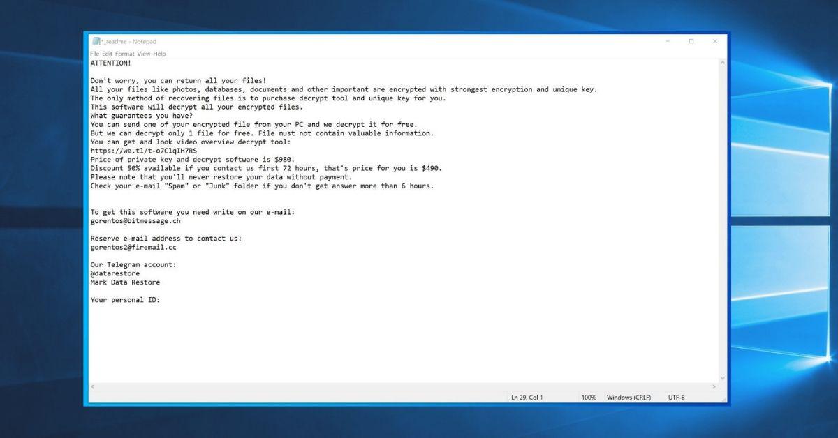 Nacro Ransomware_Ransom Note