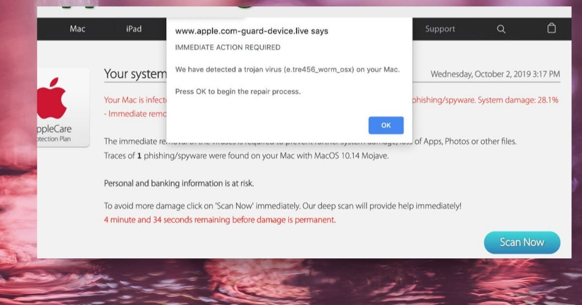 Apple.com-guard-device.live pop-up On Mac