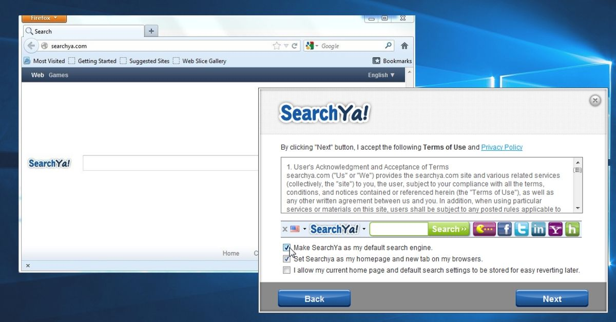 SearchYa Toolbar on Browsers