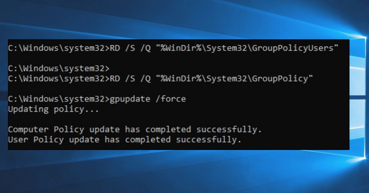 Deleting Group PoliciesUsing Command prompt