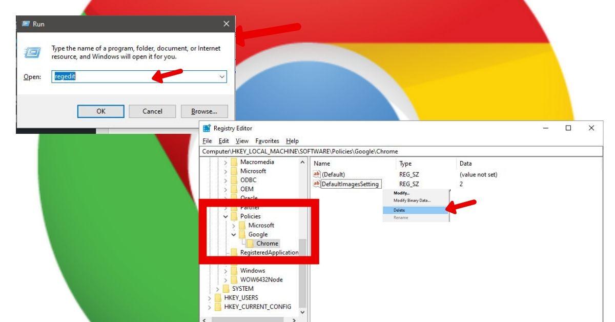Policies created in the Google Chrome via Registry Editor Windows