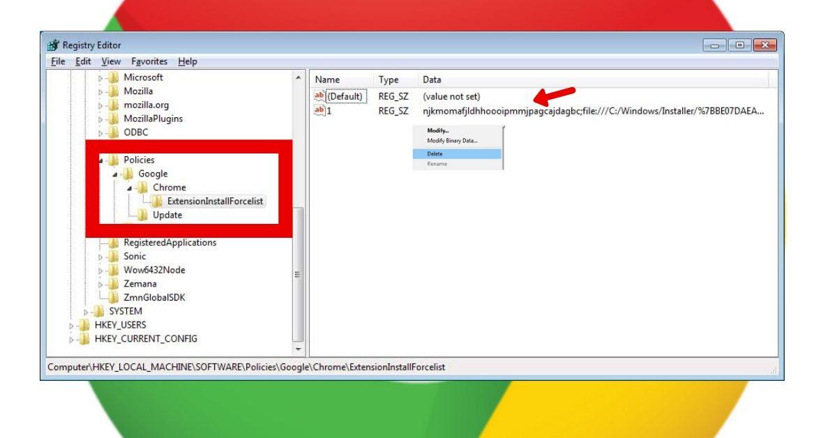 Remove InforcedExtensions via Registry Editor