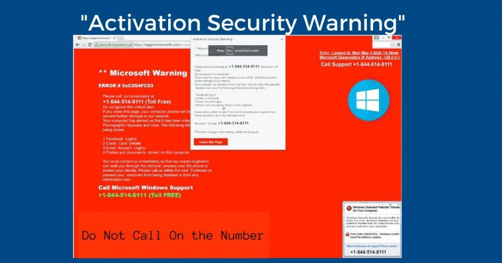 The _Activation Security Warning_ Pop-up