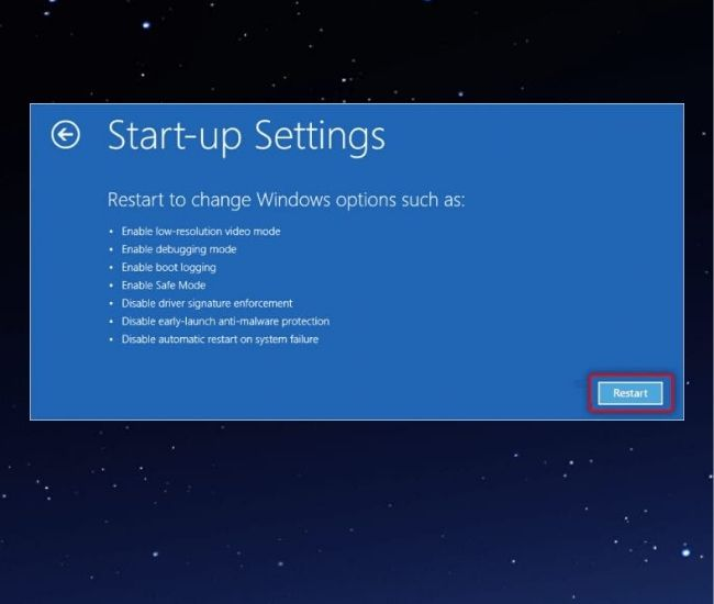 Click Restart To Enable Safe Mode