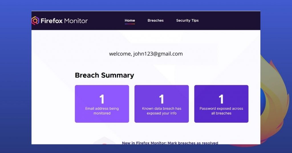 Firefox Monitor breach summary
