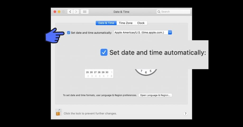 Set data and time Mac