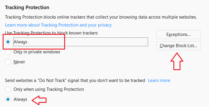 Do not track settings on the Firefox browser