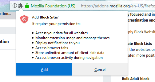 Permissions for Blocksite Add-on