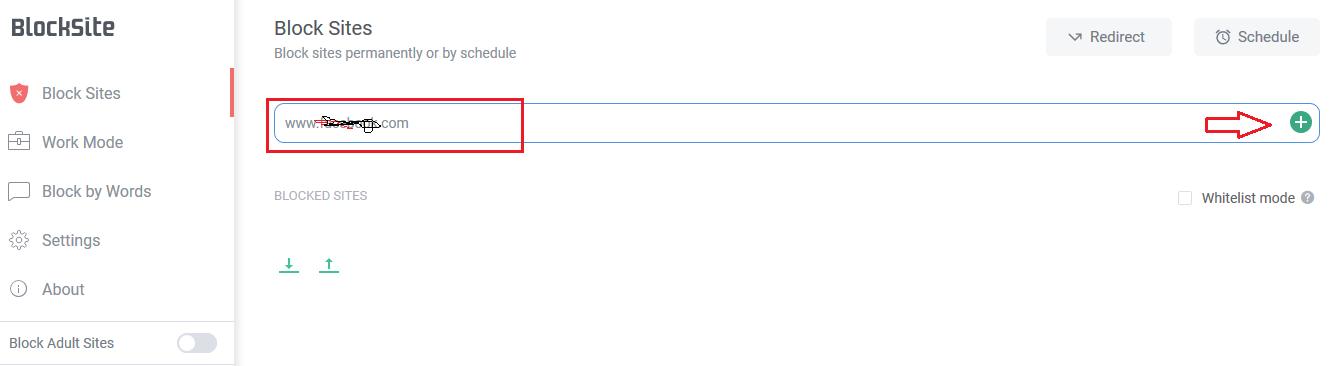 Blocksite URL