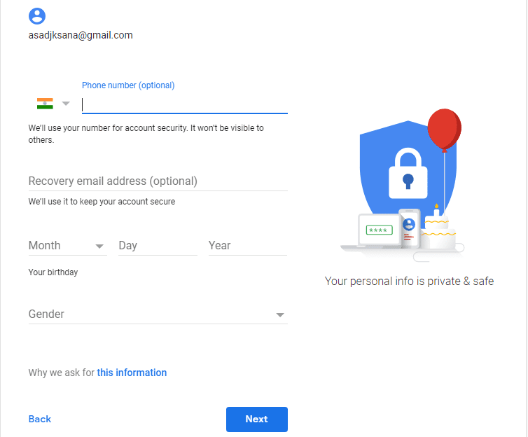 Create Google Account Second Step