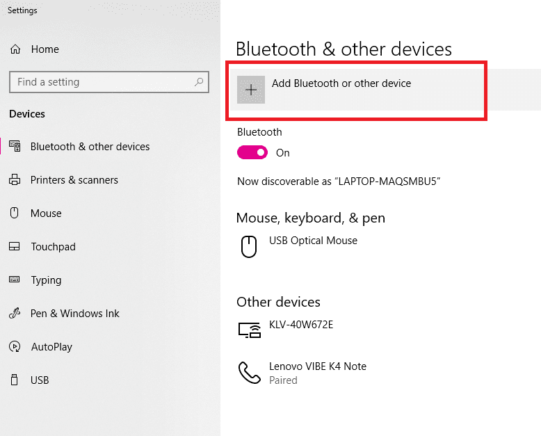 Choose Add Bluetooth or other Devices