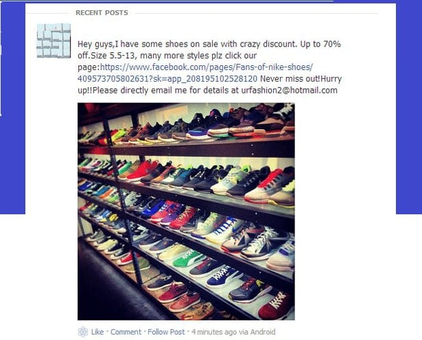 Facebook Nike Shoes Scam of August 2018