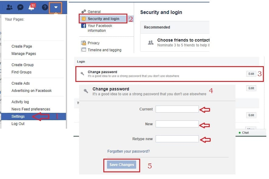 Facebook change password complete step
