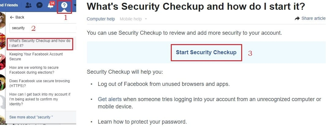 Facebook security check