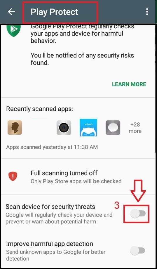 Enable Google Play Protect step 3