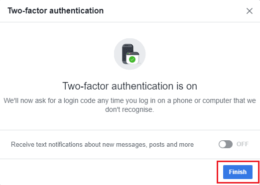 Facebook two factor authenticated step 3