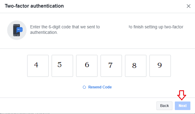 Facebook two factor authentication code