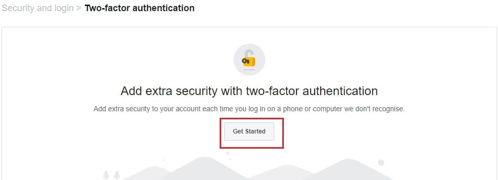 Facebook two factor authentication get started