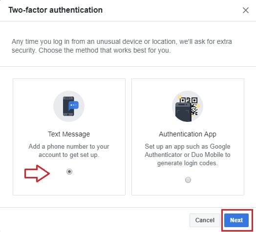 facebook two factor authentication step1