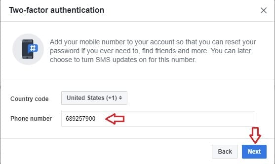 Facebook two factor authentication step2