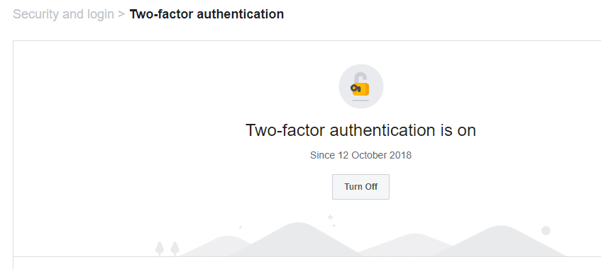 Facebook two factor authentication turned on