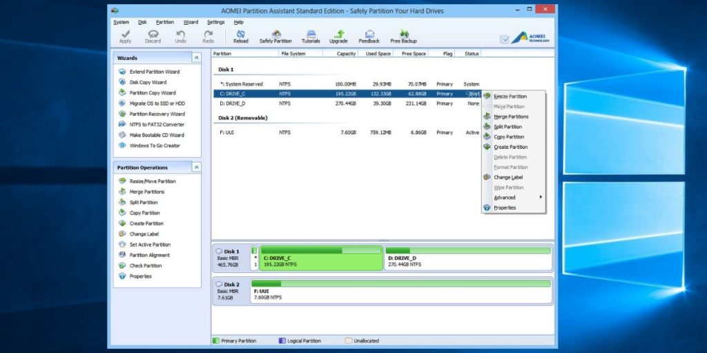 AOMEI Partition Assistant Standard Tool