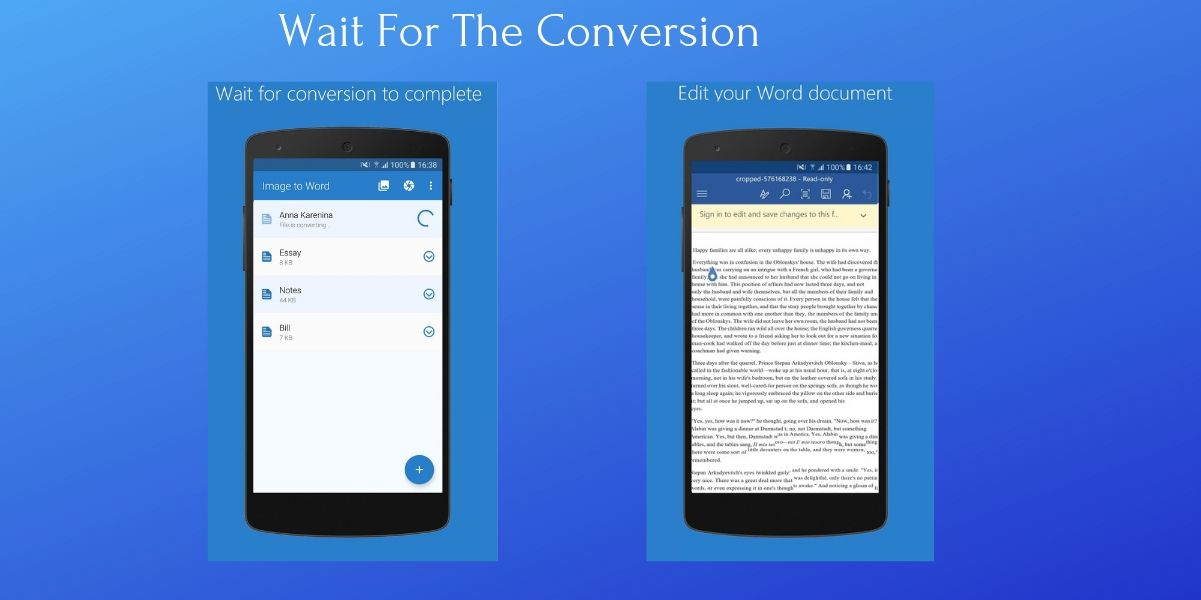 How to Convert Image to Word on Android Device Step3