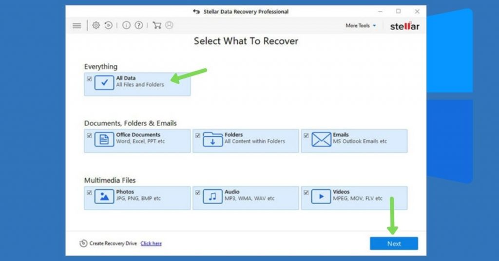 Data recovery from formatted drive