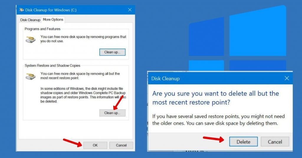 Disk Clean up for System Restore points and Shadow Volume copies