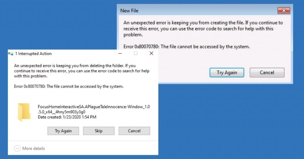 """""""Error 0x80070780_ The file cannot be accessed by the system"""" pop-ups"""